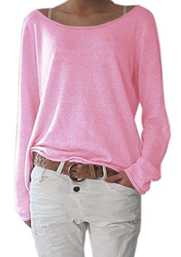 Damen Rundhalsausschnitt Langarm Lose Bluse Strickpulli Hemd Shirt Oversize Sweatshirt in Vielen Trend Farben Tops S/M L/XL (632) (L/XL, Hellrosa)