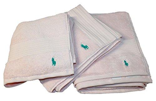 Polo Ralph Lauren Handtuch Set 3Pink Hand Bad Fußmatte jk82, rose, Größe 1 (Ralph Lauren Badetücher)