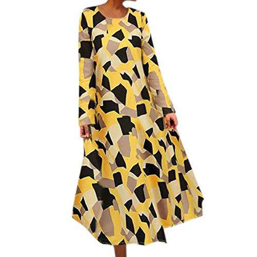 Damen Lose Freizeit Kleider Sommer Langes Kleid Mode Baggy Kaftan Kleid Tupfen Gedruckt Langarm Oansatz BeiläUfiges Maxikleid Mittleres Kleid Kaftan Kleid Luftiges Kleid Florydays Kleider Gelb L