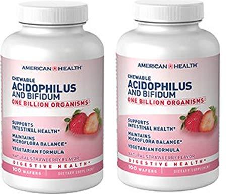 American Health Probiotischer Acidophilus mit Bifidus, kaubare Erdbeere, 100 Tabs, 2 Stück