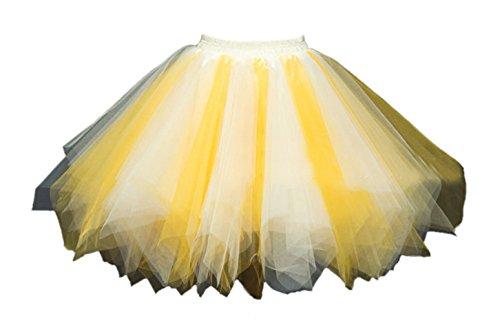 Honeystore Damen's Tutu Unterkleid Rock Abschlussball Abend Gelegenheit Zubehör Gelb und Champagner (Seide-leinen-hose)
