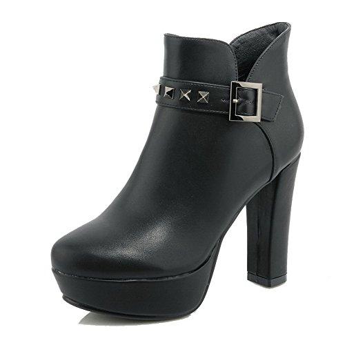 AllhqFashion Damen Reißverschluss Rund Zehe Hoher Absatz Knöchel Hohe Stiefel mit Rivet Set Schwarz