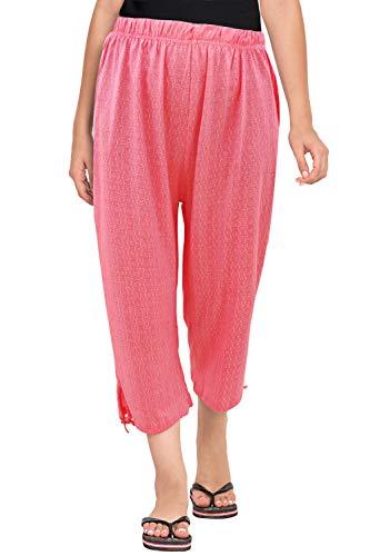 Fflirtygo Women's Comfort Capri, Night Pyjamas for Women, Night Dress, Lounge Wear, Pink Color Printed 3/4 Pyjama,-Soft Cotton Night Wear