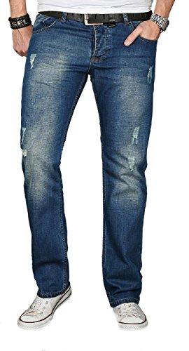 A. Salvarini Designer Herren Jeans Hose Jeanshose Regular Comfort gerades Bein [AS-064 - W32 L30]