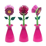 Sunflower Kitchen Brush Cleaning Tool Multi-funtion Dish Washing Brush Kitchen Bathroom Gadgets Tool (rose red)