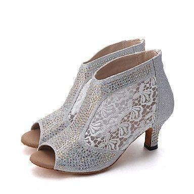Silence @ pour femme Chaussures de danse latine en similicuir évasé Talon argenté