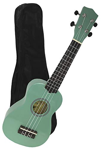 De iniciación   Aloha+ 200 GR en color verde surfero metalizado con funda, es el mejor Ukelele para empezar a tocar, es la mejor opción para todo aquel que quiera iniciarse en el mundo del Ukelele con una excelente relación calidad precio. Es perfec...