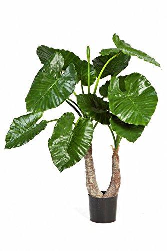 artplants – Kunstpflanze Alocasia Calidora Suri mit 13 Blättern, grün, 100 cm – Künstliche Zimmerpflanzen/Deko Pflanze