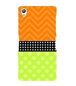Fiobs Designer Back Case Cover for Sony Xperia Z3 :: Sony Xperia Z3 Dual D6603 :: Sony Xperia Z3 D6633 (White Dots Orange Zigzag Multipattern )