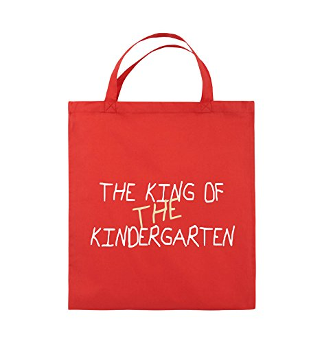 Comedy Bags - The king of the Kindergarten - Jutebeutel - kurze Henkel - 38x42cm - Farbe: Schwarz / Hellbraun-Beige Rot / Weiss-Beige
