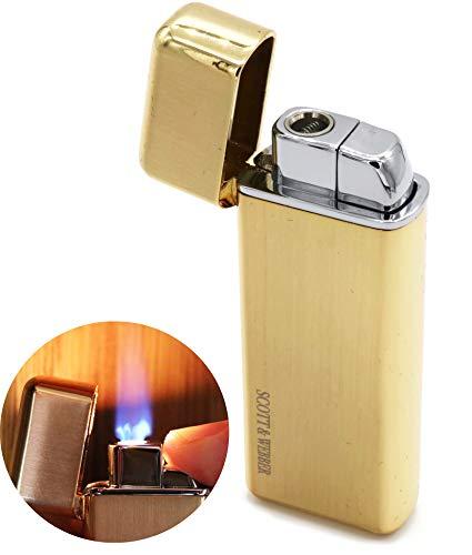 Scott & Webber - Feuerzeug Gas Sturmfeuerzeug Gold 100% Metall mit windfester Jetflamme/Pfeife, Zigarette, Zigarre/Gasfeuerzeug / Nachfüllbar, Einstellbar/bis 1300°C #SMART #Easy #ELEGANT