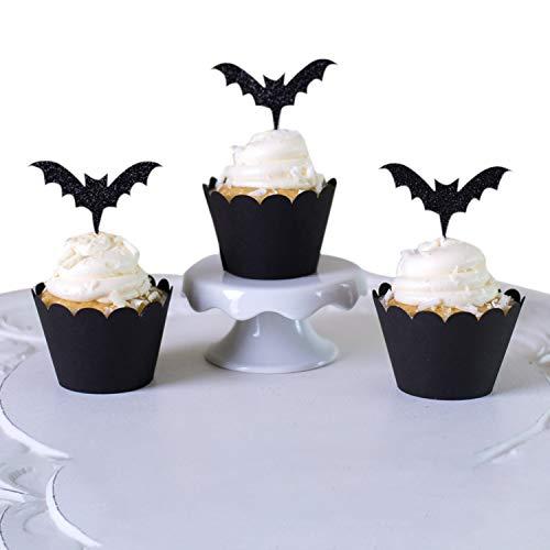 De feuilles Halloween Weihnachten Mini Cupcake Toppers und Wrappers Kuchen Dekoration Geist Kürbis Hexe für Party Geburtstag Fasching (Deko-mini-cupcakes Für Halloween)
