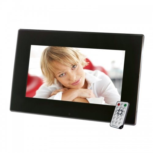Intenso Mediastylist Digitaler Bilderrahmen (14 Zoll LCD-Display, Videofunktion, MP3-Funktion, Diashow, Fernbedienung) schwarz