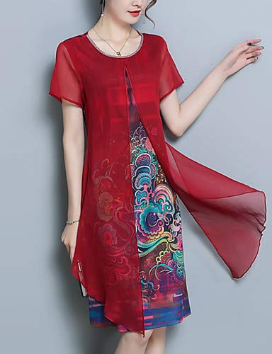 YFLTZ Women's Plus Size Ausgehen Street Schick/Sophisticated lose Chiffon-Kleid - Grafik Print/Sommer, rot, M (Size Schickes Plus Kleid Womens)