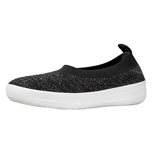 FitFlop Women's Uberknit Ballerina Crystal Nylon Slip on Flat Black/Soft Grey Size 6 Nylon Wedges