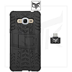 TheGiftKart™ Combo For Samsung Galaxy J2 - 6 (New 2016 Edition - J210) (Combo of 1 Back Cover + 1 OTG Adapter) - TheGiftKart™ Tough Hybid Dual Layer ShockProof Armor with Kick Stand Back Case Cover + OTG Adapter (Not Compatible With Samsung Galaxy J2 - J200)