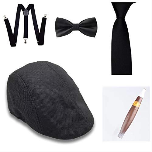 thematys Al Capone Mafia Gangster Hut + Fliege + Krawatte + Hosenträger + Zigarre - 20er Jahre Kostüm-Set für Damen & Herren - perfekt für Fasching & Karneval ()