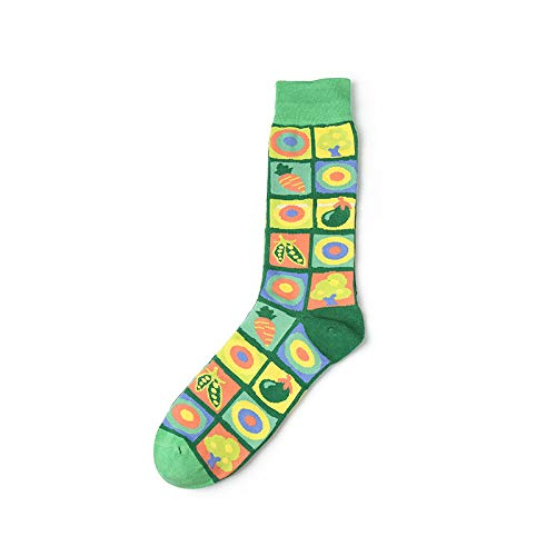 CHAOJI Damen Socken 6Pcs Europäische Und Amerikanische Socken Farbe Pop Art Stil Männer Und Frauen Strümpfe Persönlichkeit Reine Baumwolle Socken Herbst Und Winter Modelle - Amerikanischen Pop-art