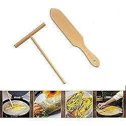 Rastrillo de madera redondo Batter crepe esparcidor esparcidor Kit de herramientas de cocina conjunto de bricolaje