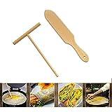 CAFFER Set di Utensili da Cucina per Attrezzi da Cucina per Pancake Crepe Spreader Round Round in Legno (M)
