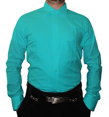 Designer camicia da uomo Slim Fit aderente a maniche lunghe colletto classico molti colori Slim Fit FL Bügel pirrolidone Blu chiaro