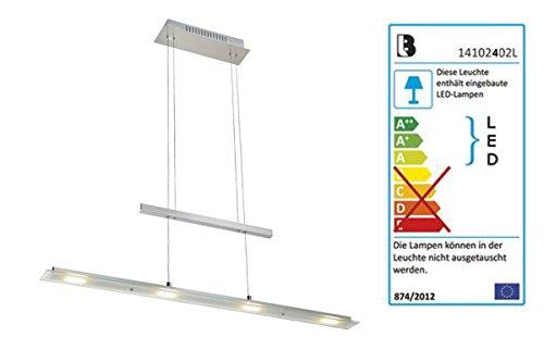 Livarno Lux® LED Pendelleuchte 4 x 24LEDs je Modul - Meatll in Mattnickel Optik, teilsatiniertes Glas