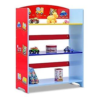 COSTWAY Kinderregal Bücherregal Aufbewahrungsregal Bücherschrank Spielzeugregal Standregal Kinder-Auto -Regal 3 fächer