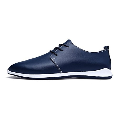 AFFINEST Herren Leder Britischen Stil Schnürschuhe Casual Mode Flach Blau