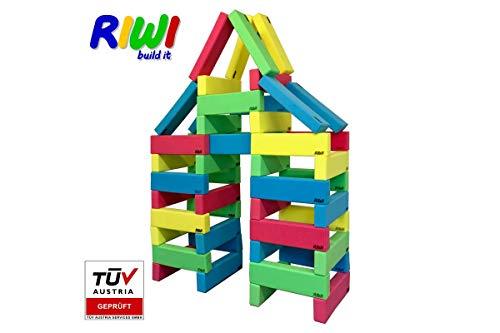 RIWI 40er Bausteinset | XXL Schaumstoffbausteine | große Soft-Bauklötze | TÜV Austria Zertifiziert | Kindergarten Qualität | Ergotherapie