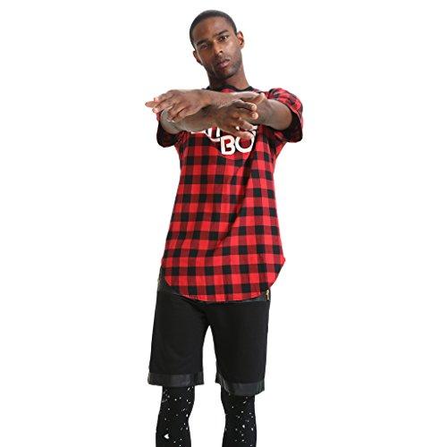 Pizoff Unisex Hip Hop Langes T-Shirt mit Karo Druckmuster Saum Reißverschluss P3132-red