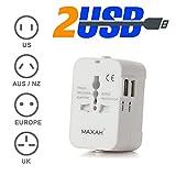 MAXAH® EU Reino Unido EEUU AU (150 países) Adaptador de viaje Travel Mundial de Viajes Universal Plug con 2 puertos USB de carga, todo en uno universa