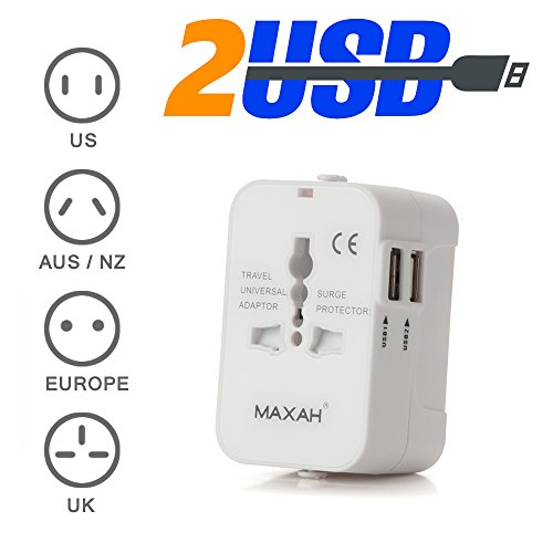 MAXAH Adaptador Enchufe de Viaje Cargador Universal Enchufe Adaptador Internacional con 2 USB para US EU UK AU acerca de EU/UK/US/AU 150 Países 1A, (Blanco)