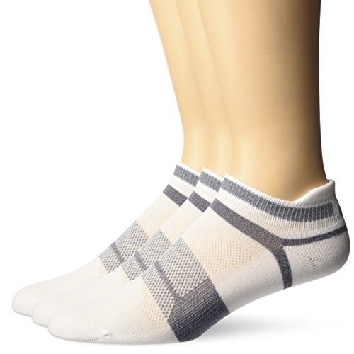 Asics Schnelle Lyte Kissen Single Tab laufen socken (3 Pack) Small White/grey Heather (Tab Socken 3pk)