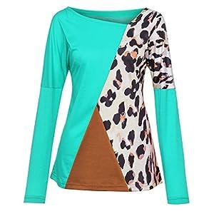 Oasics2019 sexy Leoparden Frauen langärmelige Nähte Farbe Leoparden Freizeithemd lose Hemd Top S-2XL