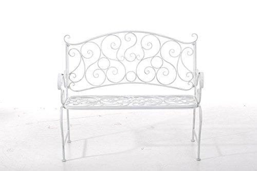 CLP Metall Gartenbank TUAN, 2-er Sitz-Bank Garten, Eisen lackiert, Design nostalgisch antik, 105 x 50 cm Antik Weiß - 2
