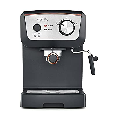 CRUX 15 Bar Espresso Filter Coffee Machine - Authentic Italian Barista Style Coffee Maker with Milk Steam Wand for Latte & Cappuccino - Heating Light - 1.25L Tank by CRUX