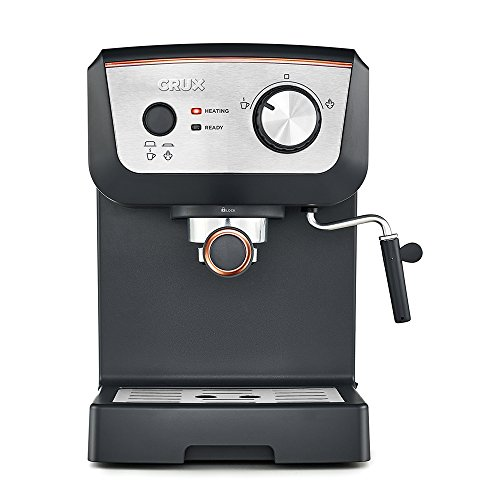 , CRUX 15 Bar Espresso Filter Coffee Machine – Authentic Italian Barista Style Coffee Maker with Milk Steam Wand for Latte & Cappuccino – Heating Light – 1.25L Tank, Best Coffee Maker, Best Coffee Maker