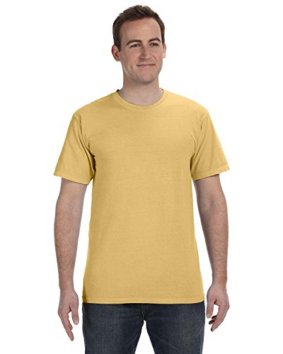 Gelber Fu§ball auf American Apparel Fine Jersey Shirt Senffarben