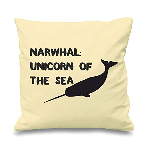 Narwhal Unicorno del Mare Divertente Cuscino Cover, Cotone, Natural, 45cm x 45cm (18 inch)