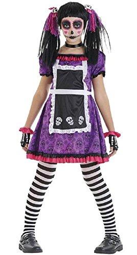 Fancy me ragazze giorno dei morti bambola messicano abito costume halloween 4-12 anni - viola/nero, 10-12 years