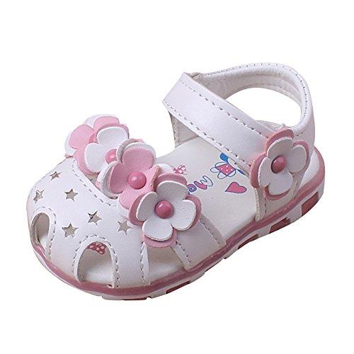 Ginli scarpe bambino,Scarpe Primi Passi Scarpine Neonato Sandali con luci Bambino Baby Girl Sandali Casual Fiori Scarpe Sneaker Antiscivolo Soft Sole Toddler