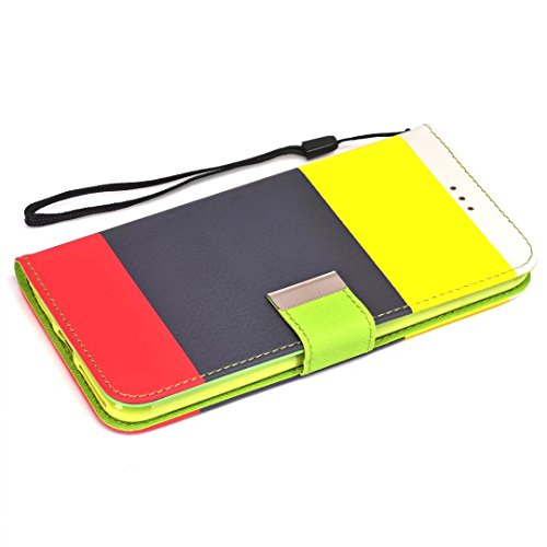 iPhone Case Cover Coloré rayures motif portefeuille stand cas rétro étui portefeuille stand pour apple iphone7 plus ( Color : 5 , Size : Iphone7 Plus ) 3