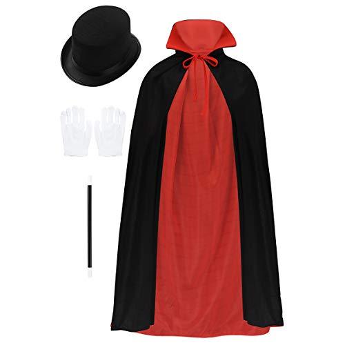 Freebily Kinder Zauberer Kostüm Vampir Umhang Stehkragen Schwarz Rot Reversible Cape Hut Zauberstab Handschuhe Set 80-90cm für Jungen Mädchen Schwarz & Rot One - Hut Und Cape Kostüm