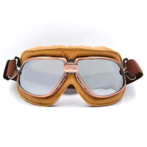 Price comparison product image BJ Global Retro Style Motorcycle Goggles Motorbike Flying Scooter Aviator Helmet Glasses Silver Lens