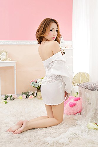 Shangrui Femmes Multicolore Soie Ice Peignoir Perspective Sauna Robe Retour D'impression Pyjamas W1013 Blanc
