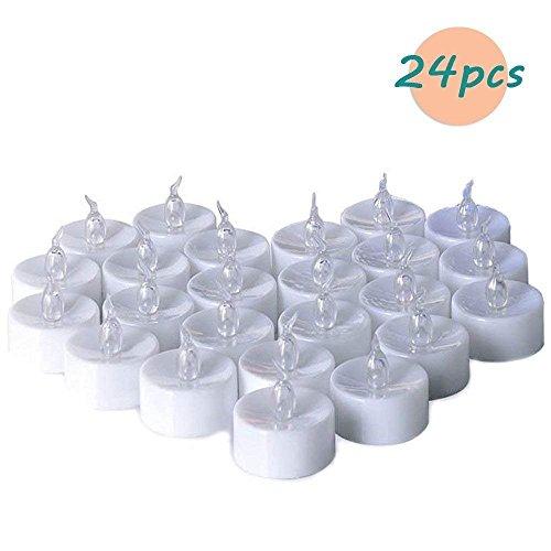 (Zenoplige Teelichter batterie 24 Flameless Kerzen inkl. Batterien CR2032 , flammenlose LED Teelichter flackernd Kerzen mit Flackereffekt Warmweiß)
