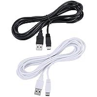 Sumind 2 Piezas 10 Pies Cable USB de Cargador de Gamepad Cable de Carga de Energía para Nintendo y Wii U, Blanco y Negro