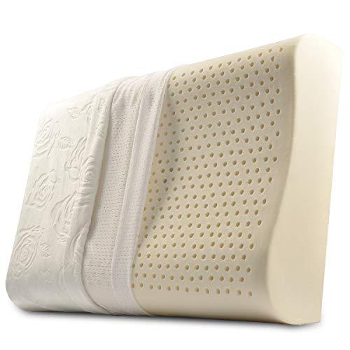 GOODTEL - Cojines de látex, Cojines y Almohadas superelásticos Naturales: Cojines y Almohadas para el Cuello, Funda de Lavanda Rosa Lavable - Medida estándar 24 x 15.8