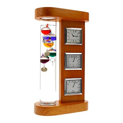 Lantelme Gallileo Wetterstation mit Thermometer Hygrometer Barometer und Uhr in Holz gefasst 7625