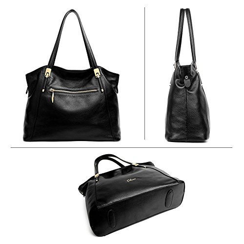 CLUCI Vera Pelle Borsa Donna Sacchetta Tote a Mano Spalla Top-Handle Leather Bag Designer 1-Nero